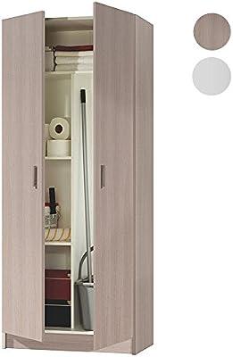 Habitdesign 007142R - Armario dos puertas escobero, armario multiusos, medidas: 180x73x37 cm de profundidad