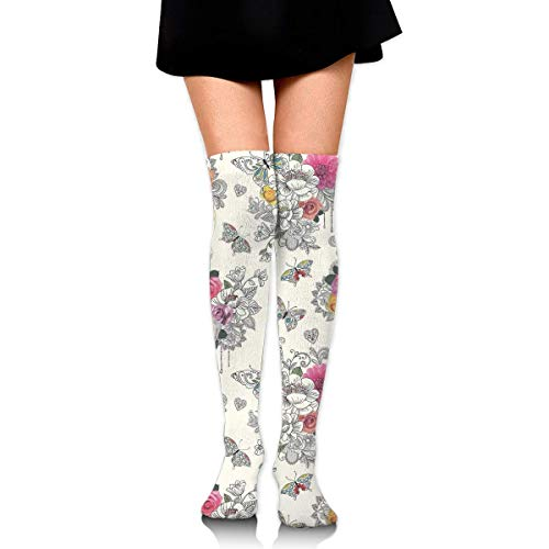 XIUZHIZH Women Teens Girls Over Knee Thigh High Boots Socks Tube Leg Warmers Stocking Cotton Cosplay Long Comfortable Leggings Butterfly Floral Sugar Skull Sock - Purple Knee High Boots