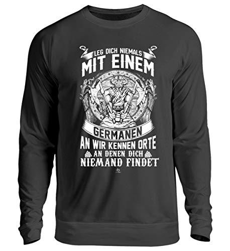 EBENBLATT Leg Dich Nicht mit Germanen an Wikinger Spruch Wappen Kostüm Rüstung Kleidung Geschenk - Unisex Pullover -M-Jet - Viking Rüstung Kostüm