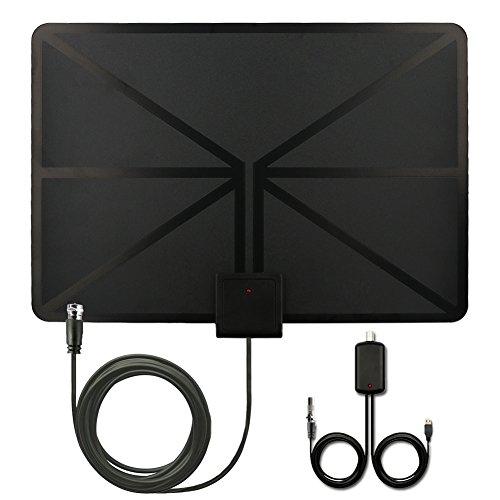 QcoQce Antena para TV Digital de TDT y HD par interior HDTV 50 Millas de Distancia alta definición y la versión mejorada del amplificador de se?al ,13ft Cable Coaxial, Color Negro