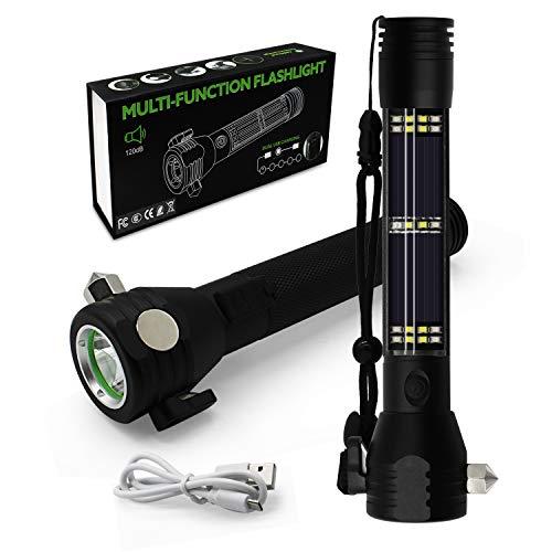 MCETek LED Multi Taschenlampe, Solar Camping Emergency USB Ladegerät Multi-Funktion mit Hammer, Schneidmesser, Kompass, SOS Strobe Beleuchtung LED-Licht mit Auto-Notfall-Tool (Automobil-solar-ladegerät)