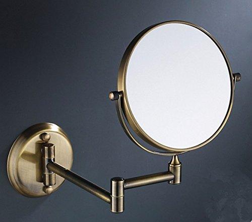 ZYZX Golden Green Bronze Spiegel Spiegel im Bad Doppelbett ausziehbaren Spiegel Make-up-Spiegel montierte 8-Zoll,Antik Bronze runden Spiegel am Ende der 8-Zoll - Golden Bronze 8 Licht