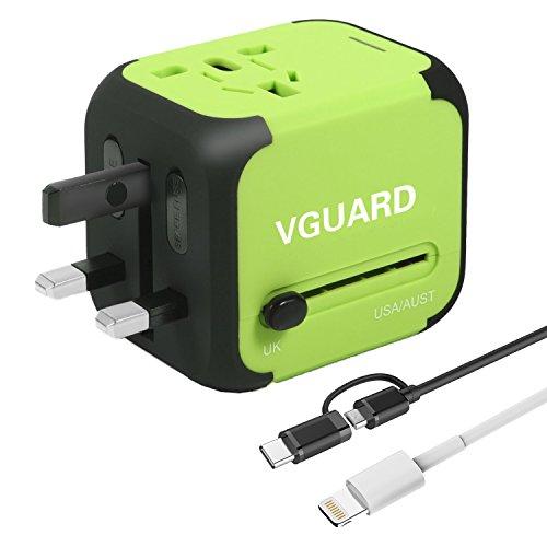 [Garantie à Vie] Voyage Adaptateur International avec Fusible de Sécurité et 2 USB (5V 2.4A) VGUARD Adapteur Chargeur USB Convertisseur pour US UK AUS...