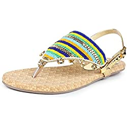 Do Bhai Sandal-562 Flat Sandal for Women (EU40, Golden)