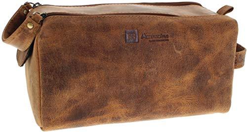 Fashion Boots Unisex Tasche FB Bags 917 Red Kulturtasche Kosmetiktasche Braun -