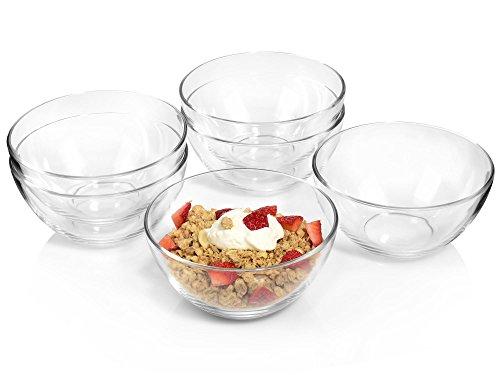 Schüssel Set Glas (Bluespoon Schüsseln aus Glas 850 ml 16 cm Ø 6 teilig | 6 Glasschüsseln für den Alltag | Universell einsetzbar als Salatschale, Müslischüssel oder Dessertschale | Stapelbar und spülmaschinengeeignet)