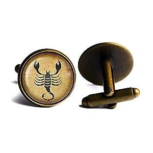 Zodiac Symbol Astrology Scorpio Tierkreis Astrologie Skorpion Antike Bronze Manschettenknöpfe
