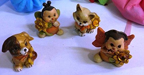 Set 10 pezzi, bomboniera animaletti 4 soggetti misti, cm4 (ggaw1196)