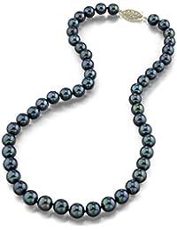 Negro japonés collar de perlas Akoya 7 - 7,5 mm AAA agua dulce perla