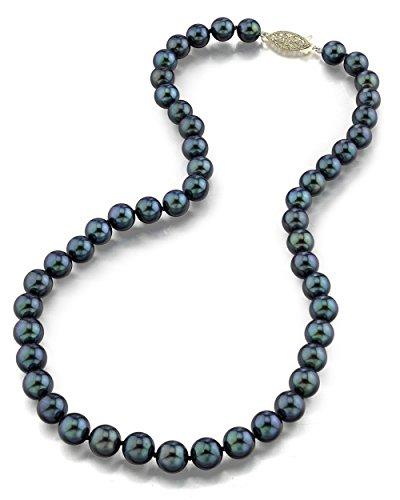 Schwarze Japanische Akoya Perlenkette 7-7,5mm AAA Süßwasser Zuchtperlen Matinee Länge 45cm - Gelbgoldverschluss (Halskette Triple Süßwasser-zuchtperlen)