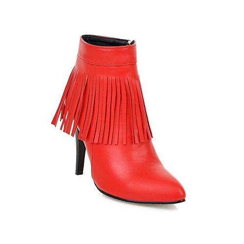 Voguezone009 donna puro tacco alto cerniera scarpe a punta stivali con frange, rosso, 35