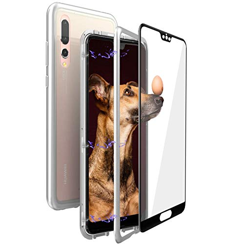 4a7ea84540d Gypsophilaa Huawei P20 Pro Magnetic AdsorptionTechnology Metal Frame  Tempered Glass Back Case,Slim Fit Ultra