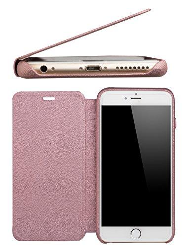 """Qialino Étui élégant en cuir véritable pour iPhone 6 6S avec rabat et protection double couche Idéal pour Apple iPhone 6, Cuir, rose, 5.5"""" iPhone 6 /6s Plus"""