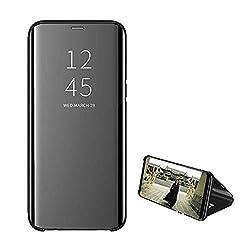 Hülle Kompatibilität Mit Galaxy S8 Plus hülle Samsung Clear View Standing Flip 360° Spiegel Phone Cover Galaxy S8 Shell Hard PC Case Tasche Scratchproof Smartphone (Schwarz, Galaxy S8)