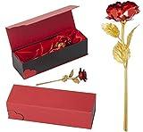 Remmo&Love ROT Goldene Gold Vergoldete Rose mit ( 24 K Gold veredelt ) inklusive Echtheit-Zertifikat Edel und stilvoll in Herz-Geschenk-Box Geschenkideen Valentinstag Geburtstag Jahrestag Luxus Edel Geschenk