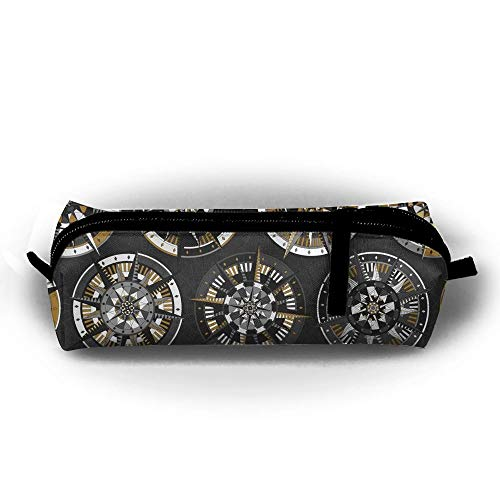 Magnetic Compass Portable Pen Bag Stylish Zipper Pencil Case Pouch Bag for Women Girls Kids Teens