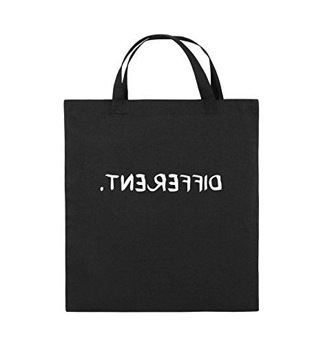 Comedy Bags - DIFFERENT - GESPIEGELT - Jutebeutel - kurze Henkel - 38x42cm - Farbe: Schwarz / Silber Schwarz / Weiss