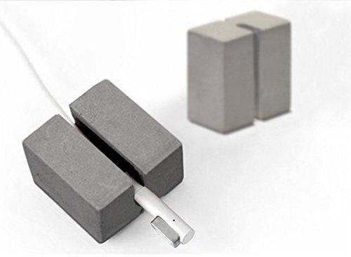 anaan Tisch Kabelbinder Kabel Clips Kabelhalter aus Beton Design Deko Industrie Kabel USB Organizer für Netzkabel und Ladegerät Zubehör Geometrische Deko 2er Set