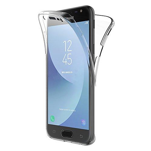 AICEK Samsung Galaxy J3 2017 Hülle, 360°Full Body Transparent Silikon Schutzhülle für Samsung J3 2017 Case Crystal Clear Durchsichtige TPU Bumper Galaxy J3 2017 Handyhülle (5 Zoll SM-J330F)
