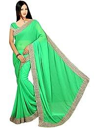 Aadimam Creation Green Color Chiffon Saree