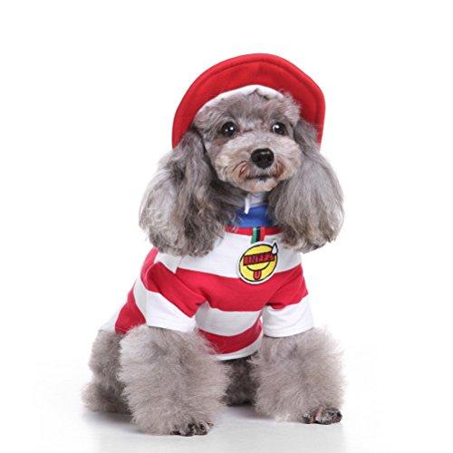 zunea Weihnachts Welpen Kleiner Hund Katze Kostüm mit Hut, Sweatshirt Streifen Cosplay Pet Halloween Outfits Kleidung Bekleidung