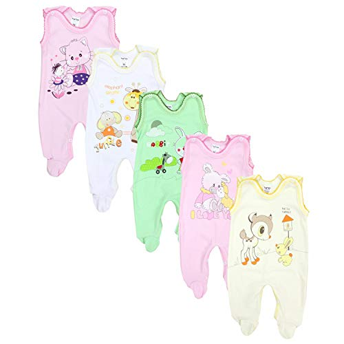 TupTam Unisex Baby Strampler mit Aufdruck Baumwolle 5er Set, Farbe: Mädchen, Größe: 56