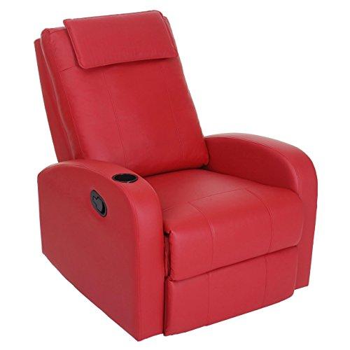 Mendler Fernsehsessel Durham, TV Sessel Relaxsessel Liegesessel, Kunstleder ~ rot