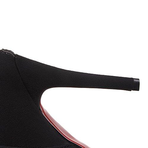 VogueZone009 Donna Alla Caviglia Cerniera Pelle Di Mucca Tacco Alto Scarpe A Punta Stivali Nero