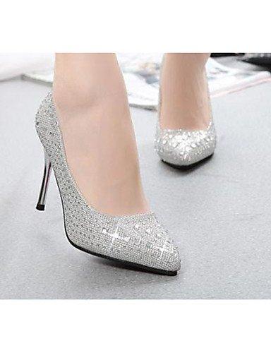 GS~LY Damen-High Heels-Lässig-Vlies-Stöckelabsatz-Absätze-Schwarz / Rot / Silber / Gold black-us8 / eu39 / uk6 / cn39