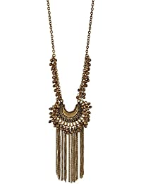 Zephyrr Fashion Turkish Style Golden Meyal Beaded Long Pendant Necklace for Women and Girls