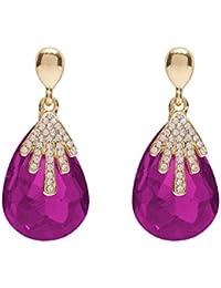 Party Wear Pink Stone Fancy Earrings For Girls – Pink Crystal Drop Earrings By FreshVibes
