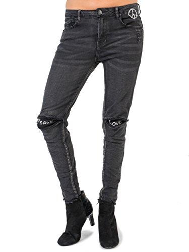 BIANCO JEANS Damen Hose Peace & Love - Liebevoll gestaltete schwarze Slim Fit Jeans mit gestickten Details - 34 Peace Jeans