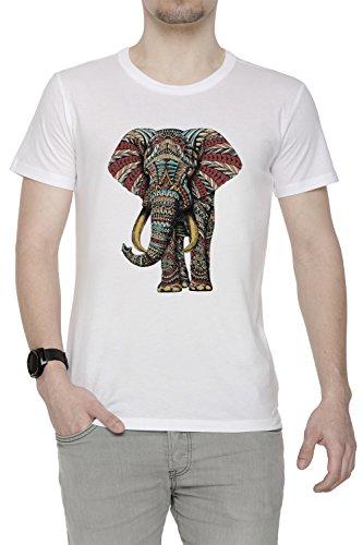 Florido Elefante Hombre Camiseta Cuello Redondo Blanco Manga Corta Tamaño L Men's White Large Size L