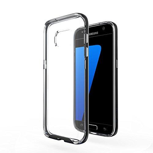 Azorm Handyhülle für Samsung Galaxy S7, Hybrid Edition Smartphone Hülle, Bumper Schutzhülle Anti-Rutsch und Kratzfest, Silikon Rückseite Transparent - Schwarz (Metalleffekt)