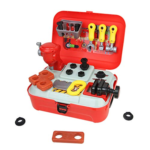 Nuheby Kids Tool Kits Toy Tool Set Carrycase Construction Toys Workbench Tool Box Set Pretend Role Play for Boys Girls 3 4 5 Years Old