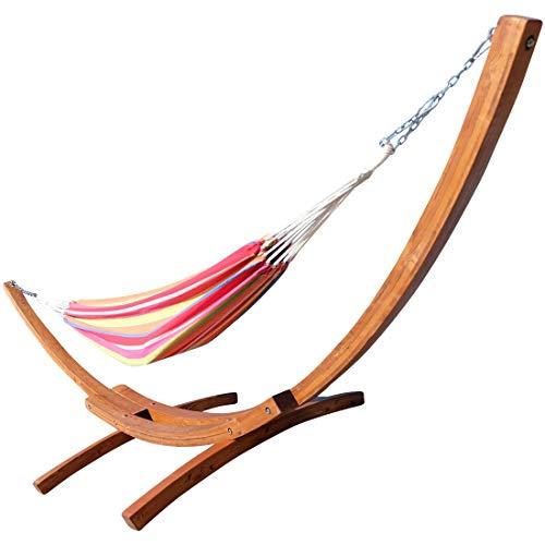 410cm XXL stand de hamac de luxe LIMITED EDITION MONA mélèze en bois avec hamac (ACIER INOXYDABLE) de AS-S