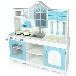 Leomark Cocina Exclusive Royal Azul, Cocina de juguete con accesorios, Juguete para Niñas, color azul, Juego de Imitación, cocina madera infantil, cocina Dimensiones: 106 x 32 x 109 cm.