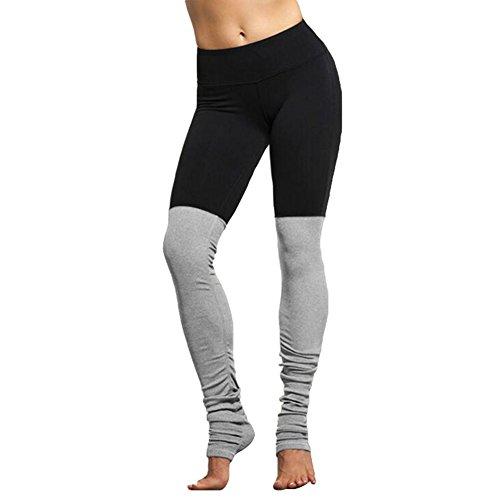 Fitness Patchwork Sport Legging Yoga Pantalon hibote Serré Élastique Jogging Gym Taille Haute Compression Pantalon Femmes Hip Push Up Noir