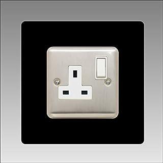 Single Socket Surround | Square | Acrylic Back Panel or Finger Plate | Light Switch Plug, Colour: Black