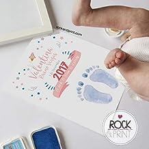 Cuadro para huella de bebé con tinta y marco. Elige el color de la lámina