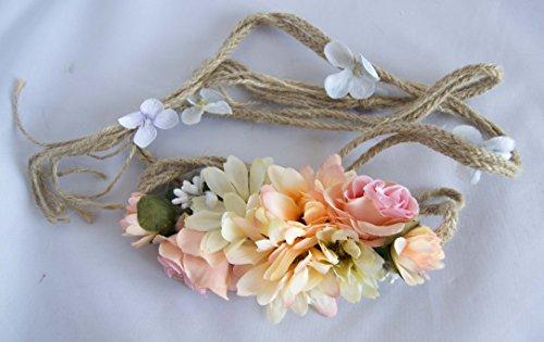 Cinturón de cuerda con flores en tonos anaranjados. Envío GRATIS 72h