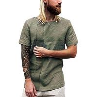 BIBOKAOKE Retro Leinenshirt Herren T-Shirts Sommer Baggy Leinen Einfarbig Kurzarm Freizeit Hemden Herren Bluse Benutzerdefinierte Top