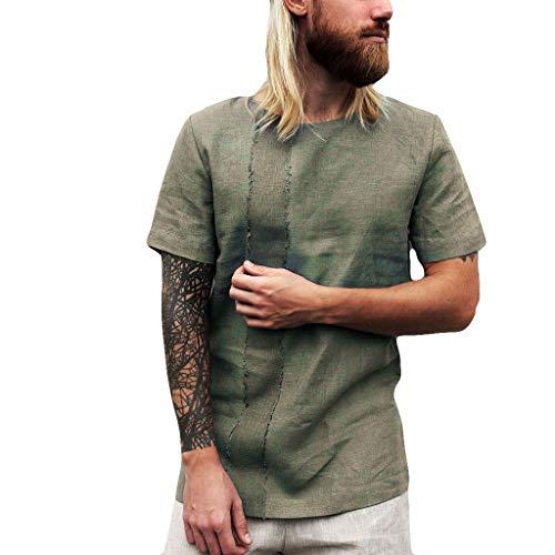 REALIKE Herren Kurzarmshirt Oberteile Mode Streifen Plain Leinen Loose Kurzer T-Shirt Freizeit FitnessTrainings Tops Männer für Bequem Atmungsaktiv Mehrere Größen Viele Farben Bluse