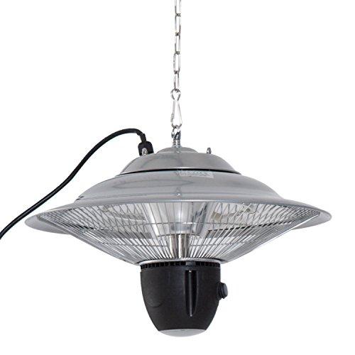 Outsunny Deckenheizstrahler Heizstrahler 1500W mit LED inkl. Fernbedienung Terrassen Alu Silber Φ42 x H26cm
