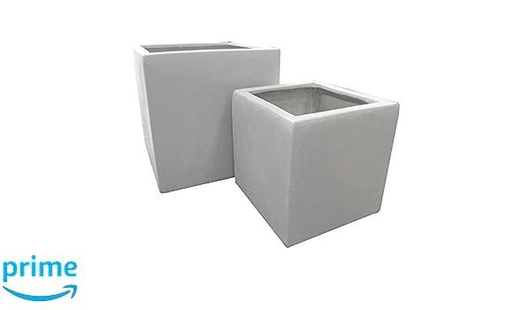 52 cm Marmor weiß Polystone Pflanzkübel Cubic: Amazon.de: Garten
