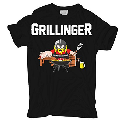 Männer und Herren T-Shirt Grillinger Körperbetont schwarz