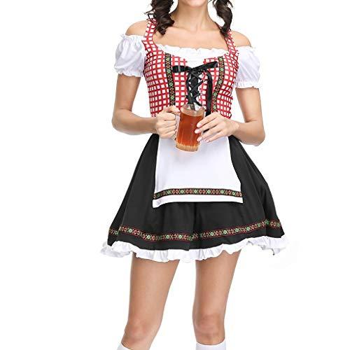 Oktoberfest Damen Maid Kostüm Miederkleider Damen Kurzarm Kleider und Schürze Bayerisches Biermädchen Miederröcke Trachtenmieder Bierfest Unterkleider Halloween Cosplay Bier Kleid