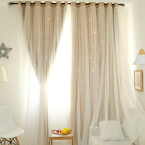 Beige-deck-matte (TPulling Gypsophila Vorhang  Warp Stricken Starry Sky Sheer Doppellagiger Perforierter Vorhang Tüll Fensterbehandlung Voile Drape Valance Double-Deck (beige))