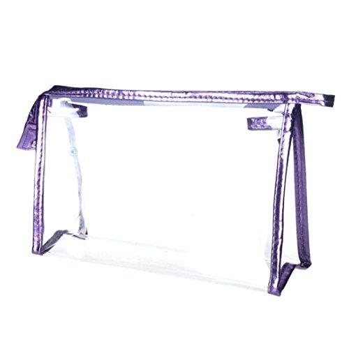 Trousses à Maquillage,LONUPAZZ Sac De Maquillage Transparent Sac Cosmétique Imperméable à l'eau Sac à Main (Violet)