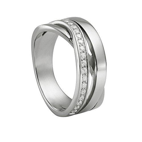 Heideman Ring Damen Draco aus Edelstahl Silber farbend poliert Damenring für Frauen mit Swarovski Stein Zirkonia Weiss im Brillant Schliff 1,5mm
